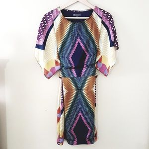 Roz & Ali // Retro 70's Geometric Blouson Dress